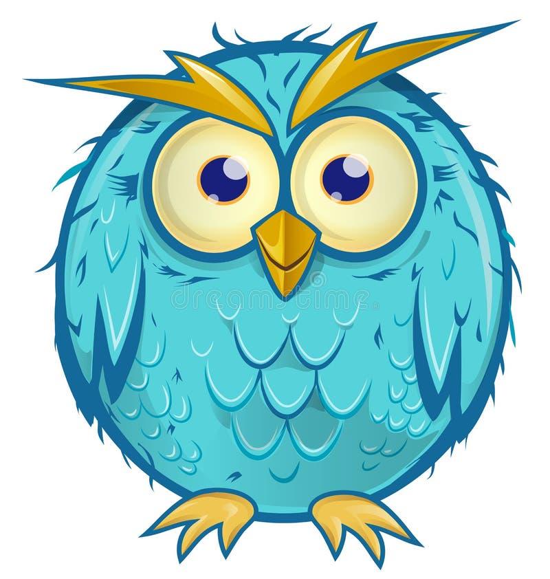 Szalona błękitna sowy kreskówka ilustracji