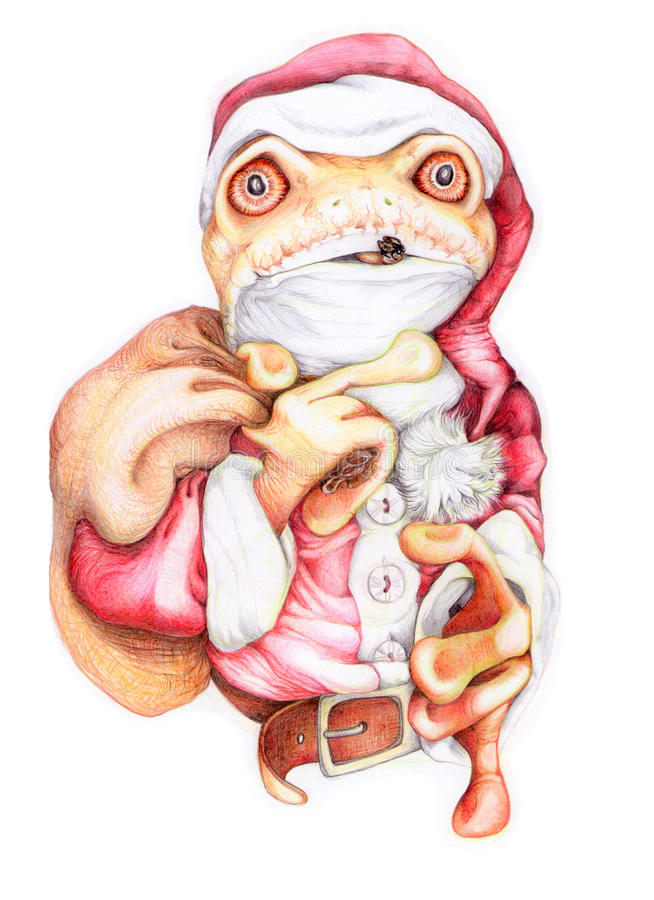 szalona Boże Narodzenie żaba ilustracji