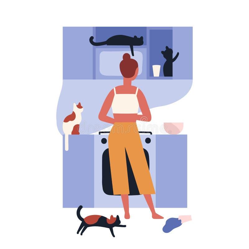 Szalona kot damy pozycja w kuchenny pełnym jej kucharstwo i kiciunie Domowa scena z kobietą i jej zwierze domowy ilustracji