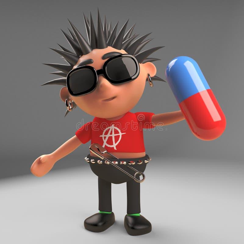 Szalona punk rock postać z kreskówki trzyma pigułkę medycyna, 3d ilustracja ilustracji