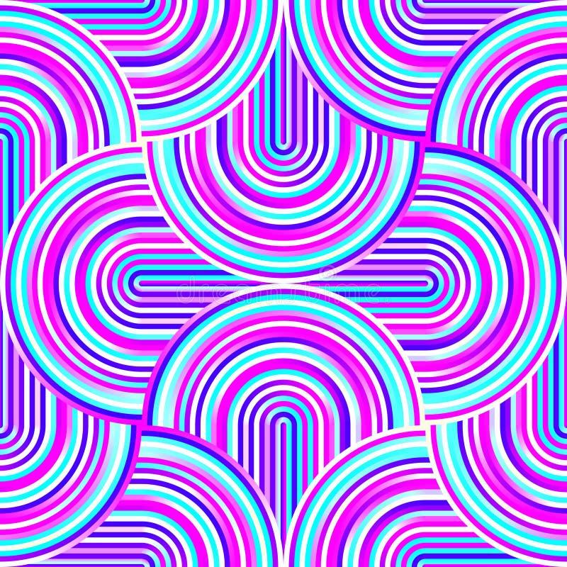 Szalone krzywy - kołtuniasty geometryczny wzór z jaskrawymi menchii i błękita kolorami ilustracji