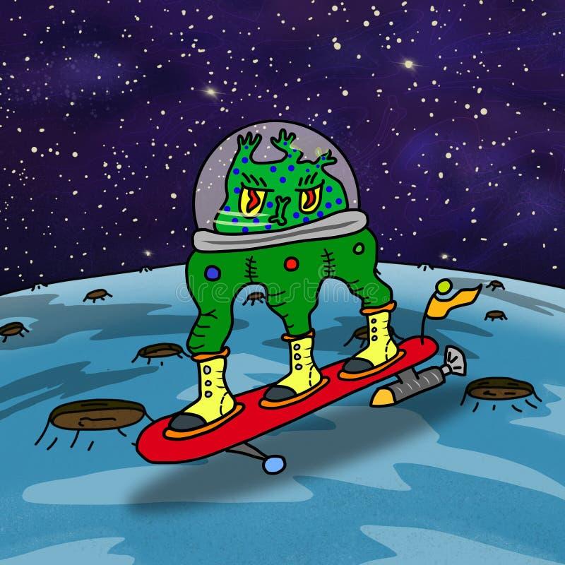 Szalonego zielonego surfingu dziwaczny astronautyczny obcy ilustracji