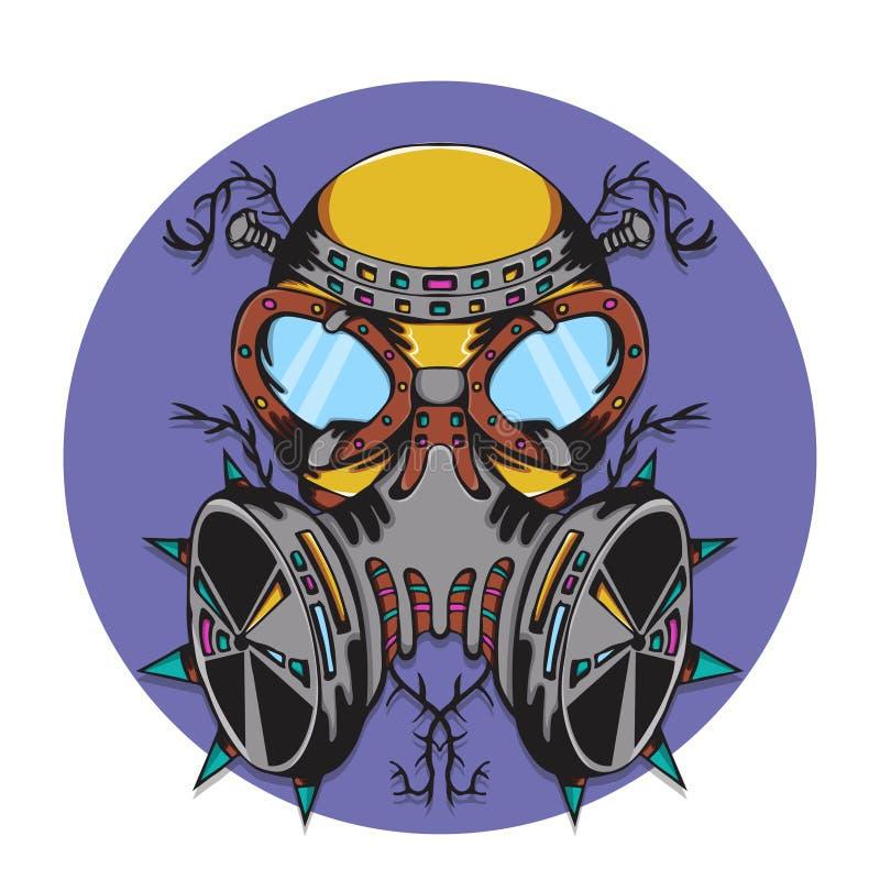 Szalonej maski gazowej zagrożenia życiorys potwór royalty ilustracja
