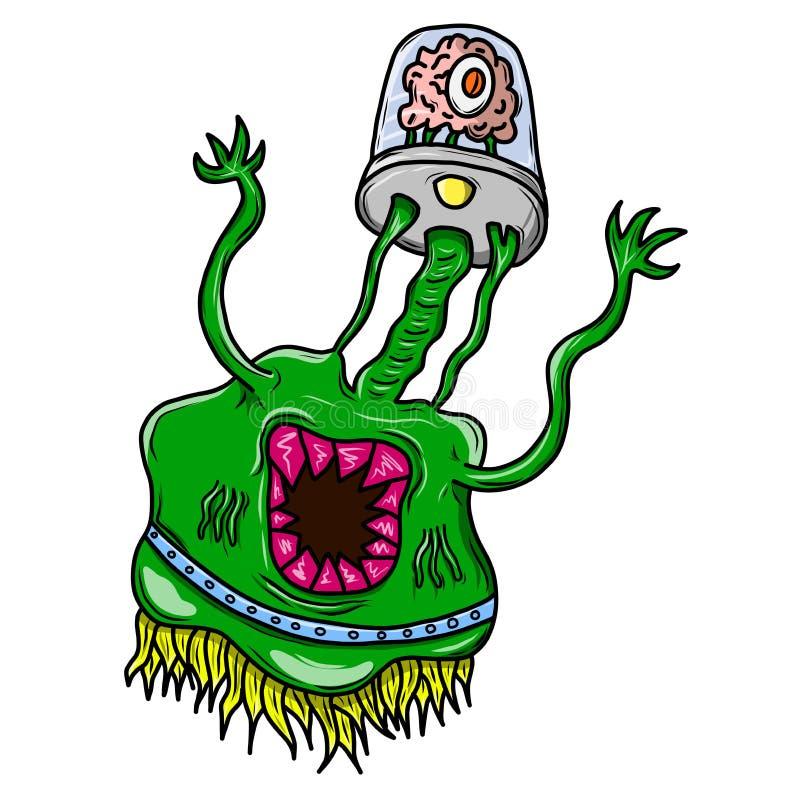 Szalony śmieszny, whacky obcy przestrzeni potwór, zielona skóra ilustracja wektor
