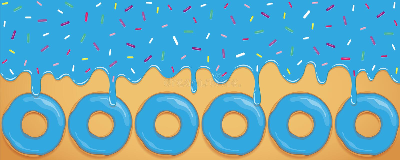 Szalony błękitny słodki roztapiający lodowacenie z kolorowym kropi i pączek ilustracja wektor