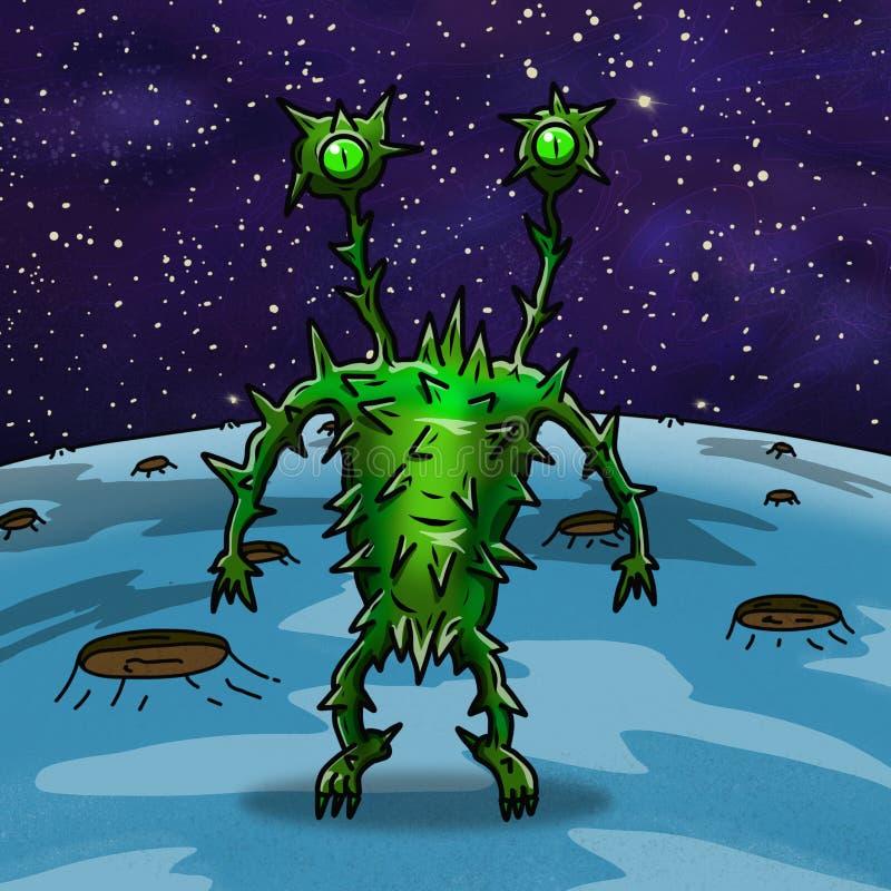 Szalony dziwaczny astronautyczny obcy lub potwór ilustracja wektor