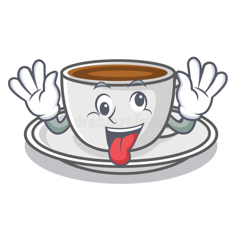 Szalony kawowy charakter kreskówki styl ilustracja wektor