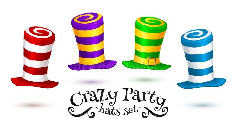 Szalony Partyjny kolorowy pasiasty karnawałowy kapeluszu wektoru set royalty ilustracja