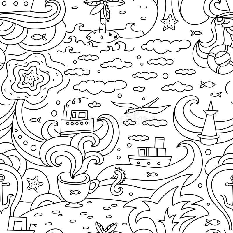 Szalony wektorowy bezszwowy wzór z dennymi elementami - ryba, statki, seagulls royalty ilustracja