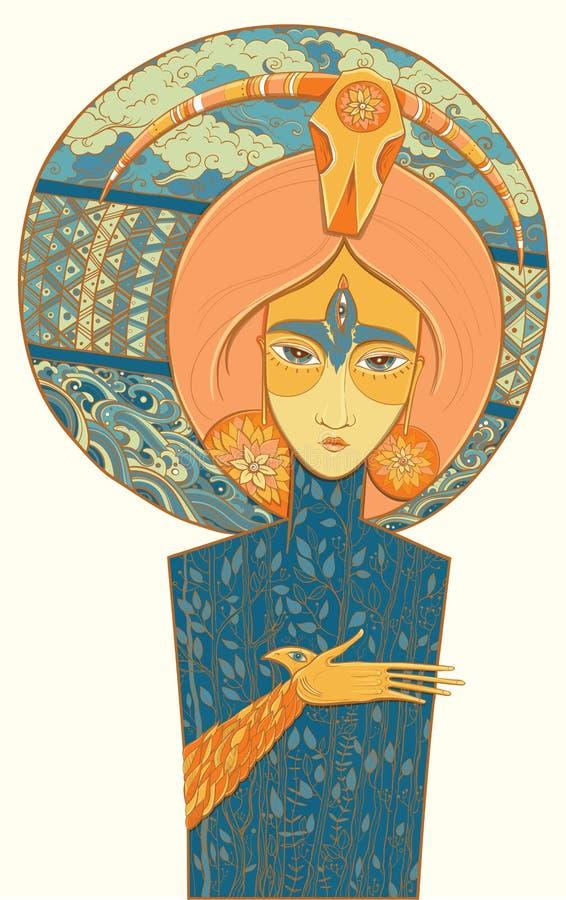 Szaman bogini narodziny i śmierć również zwrócić corel ilustracji wektora ilustracji