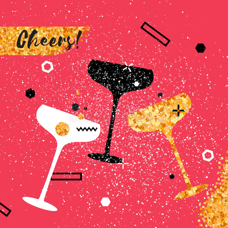 Szampańscy flety Rozochocony wakacje napoje alkoholowe Partyjny świętowanie ilustracji