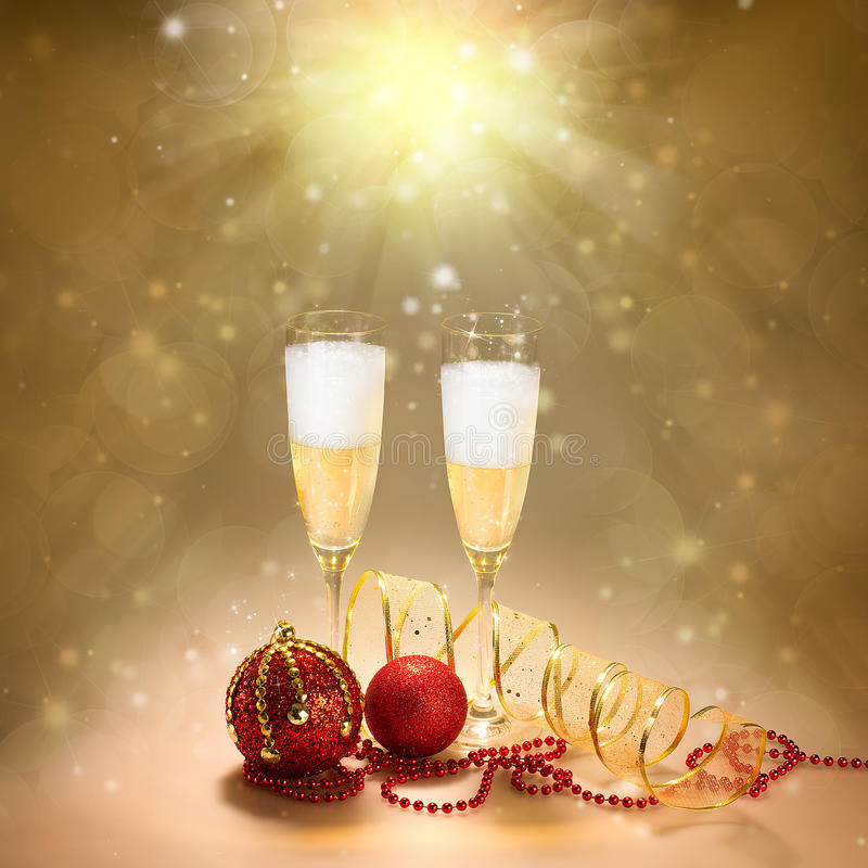 Szampańscy szkła. Nowy Rok i bożego narodzenia świętowanie obraz stock
