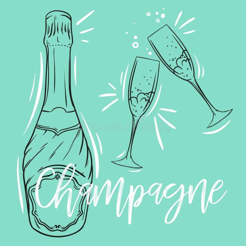 Szampańska butelka i para szampańscy szkła, set nakreślenie stylu wektoru ilustracja royalty ilustracja