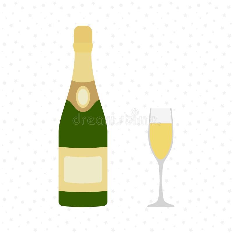 Szampańska butelka z szampańskim szkłem łatwe tło ikony zamieniają przejrzystego cienia wektor otuchy Świętowanie Wakacyjna grzan ilustracji