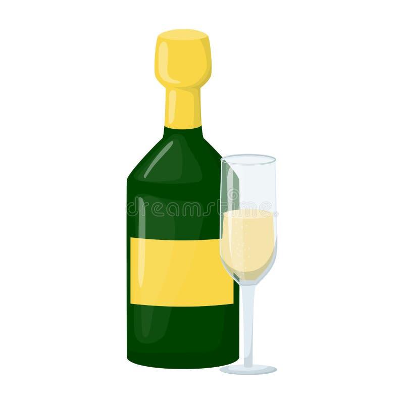 Szampańska butelka z wina szkła grzanką, otucha wektoru ilustracja Nowego Roku szampan 2019 Alkohol, pluśnięcie, napój Boże Narod ilustracja wektor