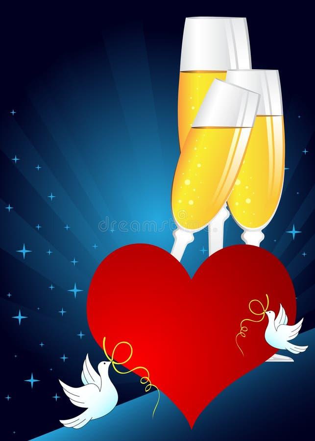 szampańska szkieł serca czerwień ilustracja wektor