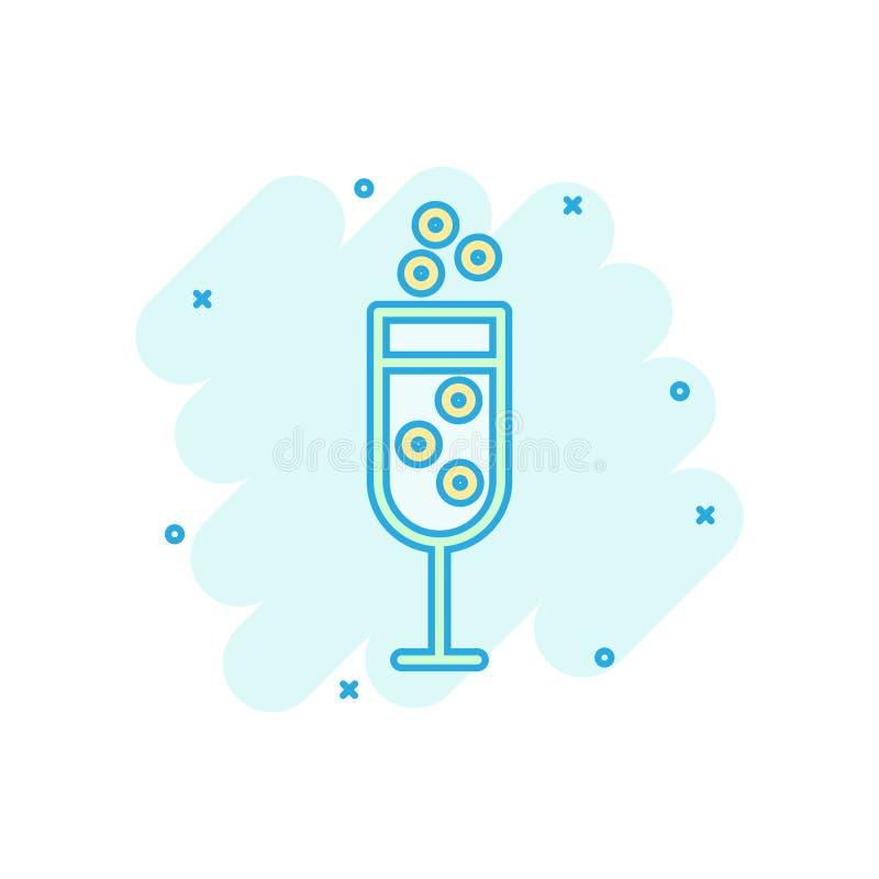 Szampańska szklana ikona w komiczka stylu Alkoholu napoju kreskówki wektorowa ilustracja na białym odosobnionym tle Koktajlu plu? royalty ilustracja