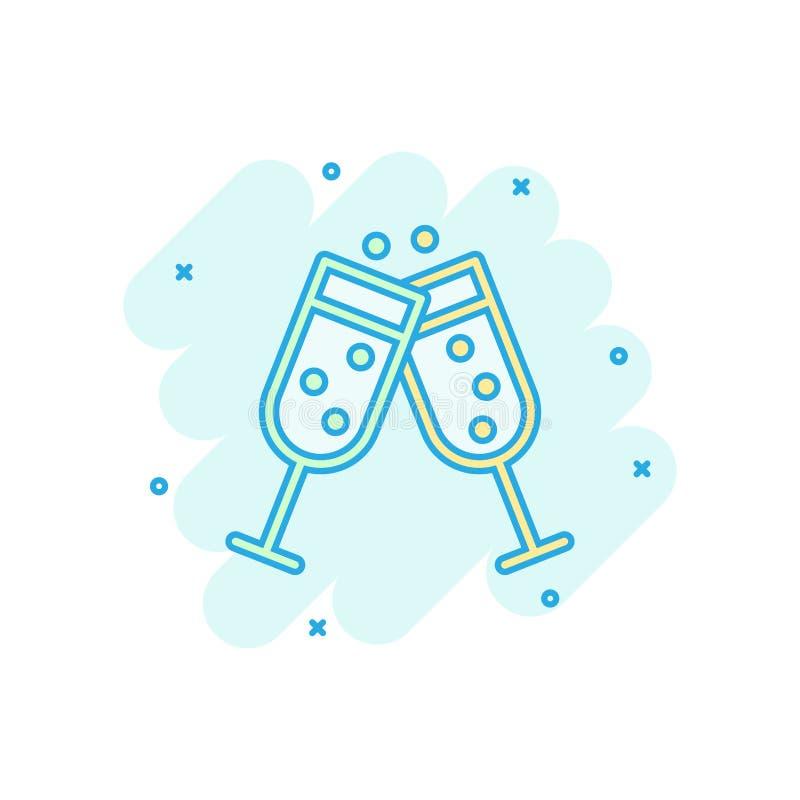 Szampańska szklana ikona w komiczka stylu Alkoholu napoju kreskówki wektorowa ilustracja na białym odosobnionym tle Koktajlu plu? ilustracja wektor