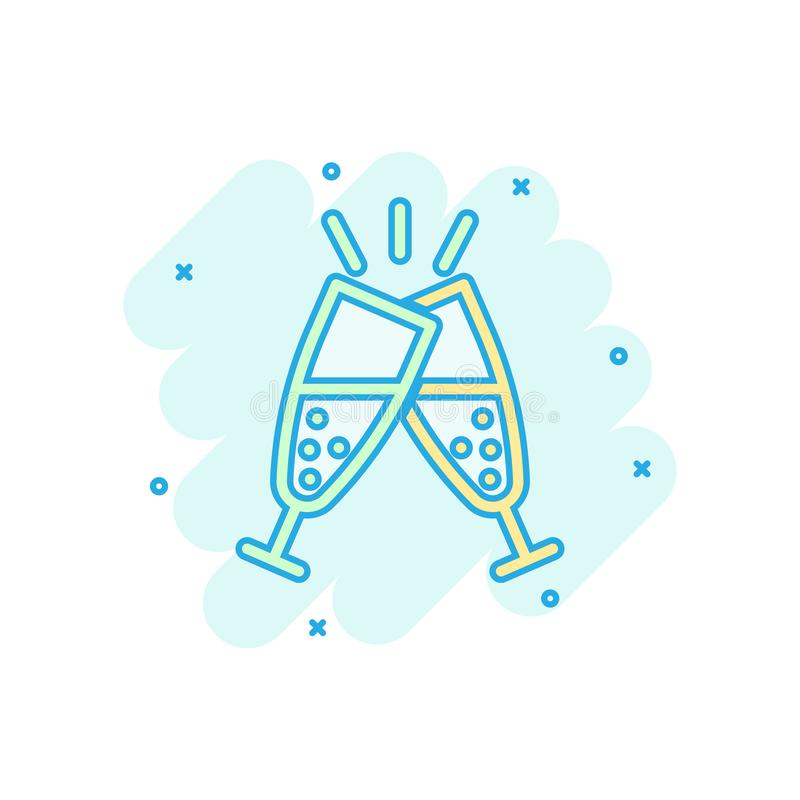 Szampańska szklana ikona w komiczka stylu Alkoholu napoju kreskówki wektorowa ilustracja na białym odosobnionym tle Koktajlu plu? ilustracji
