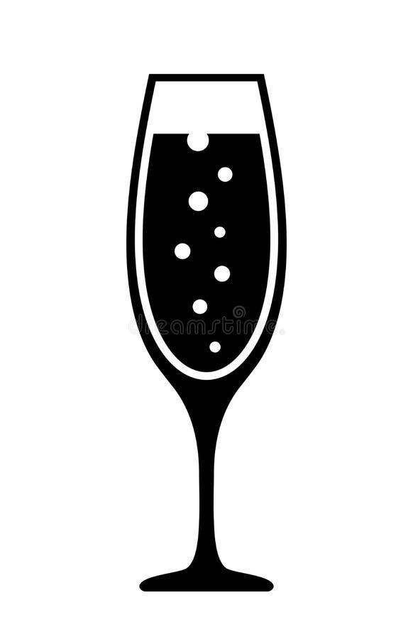 Szampańska szklana wektorowa ikona ilustracji