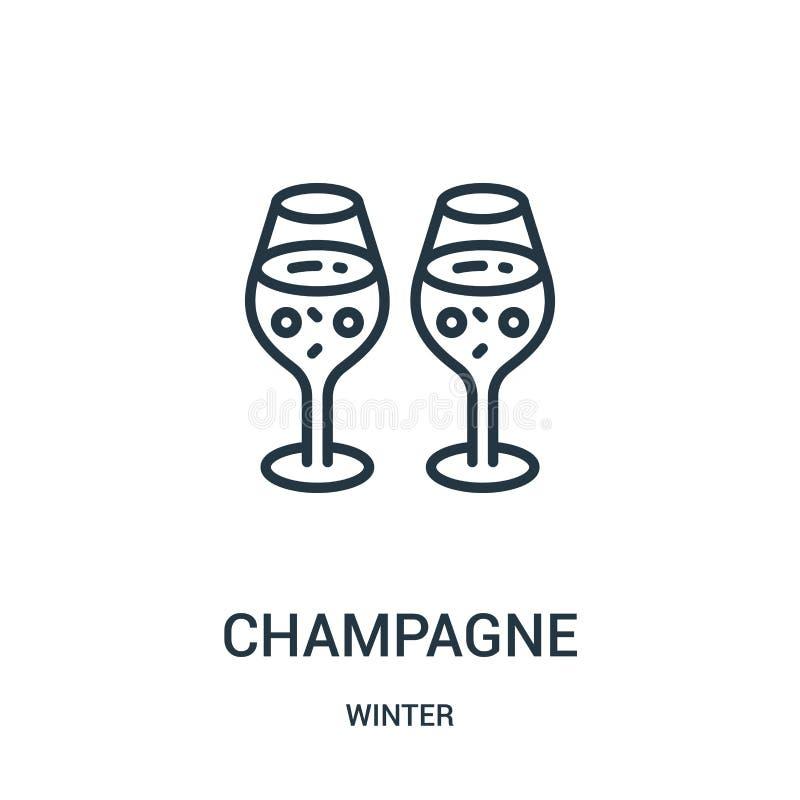 szampański ikona wektor od zimy kolekcji Cienka kreskowa szampańska kontur ikony wektoru ilustracja Liniowy symbol dla używa na s ilustracji