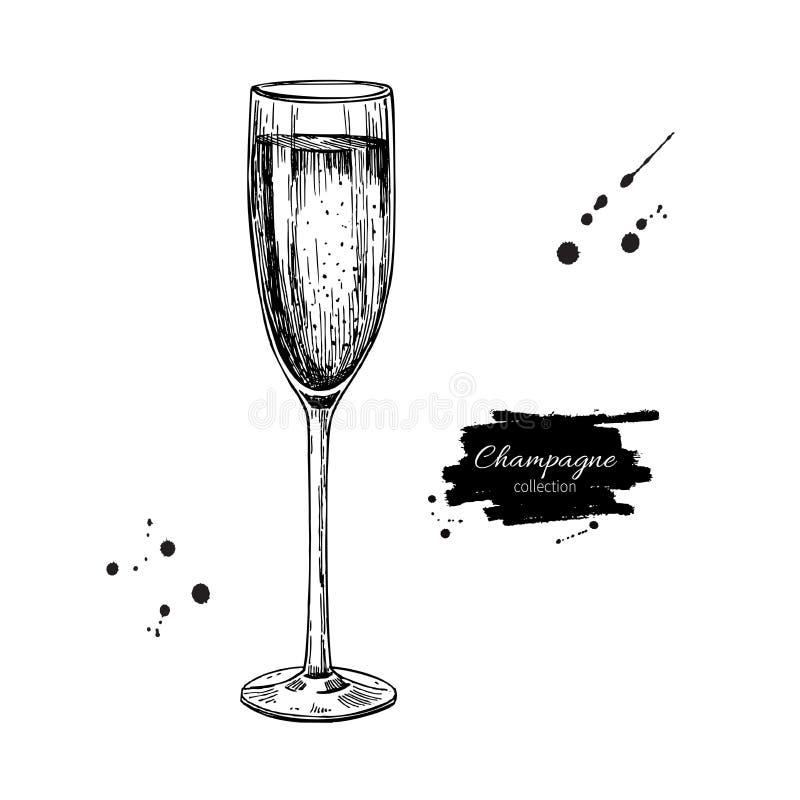 Szampański szkło z bublles Ręka rysujący odosobniony wektorowy illustr ilustracji