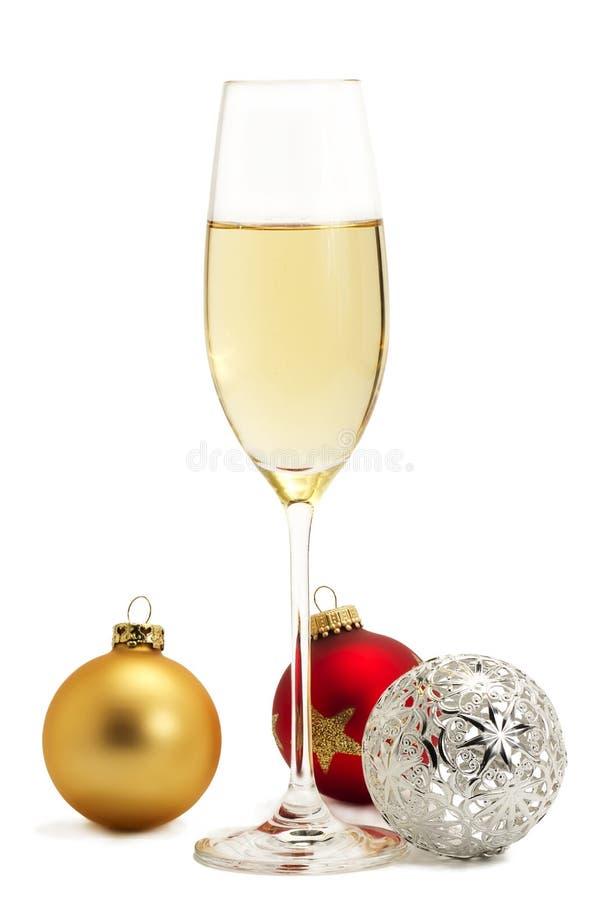 szampańskiego chri szklana złota metalu czerwień obrazy royalty free