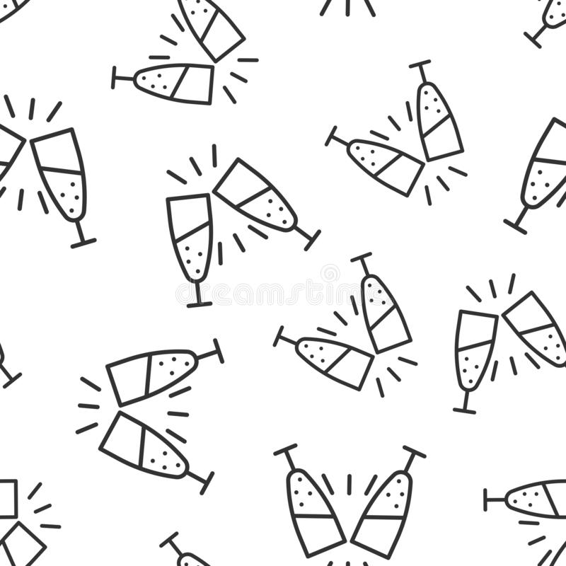 Szampańskiej szklanej ikony bezszwowy deseniowy tło Alkoholu napoju wektorowa ilustracja na bia?ym odosobnionym tle koktajl ilustracja wektor