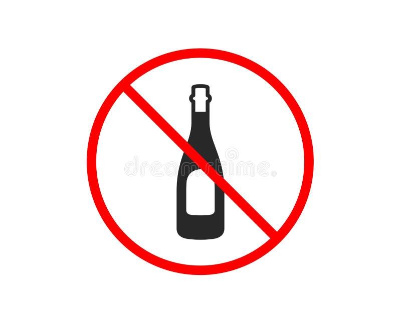 Szampa?ska butelki ikona Rocznicowy alkoholu znak wektor ilustracja wektor