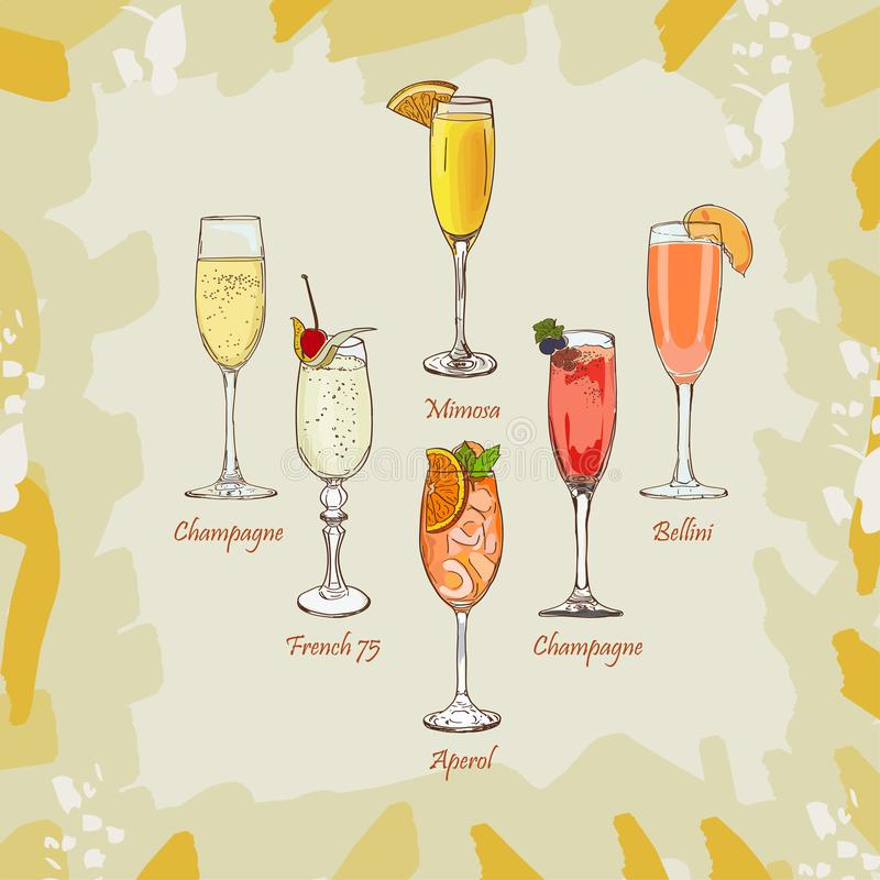 Szampan, Bellini, mimoza, Kir Royale, francuz 75, Aperol Spritz koktajl ilustrację Alkoholiczna klasyka baru napoju ręka rysująca royalty ilustracja