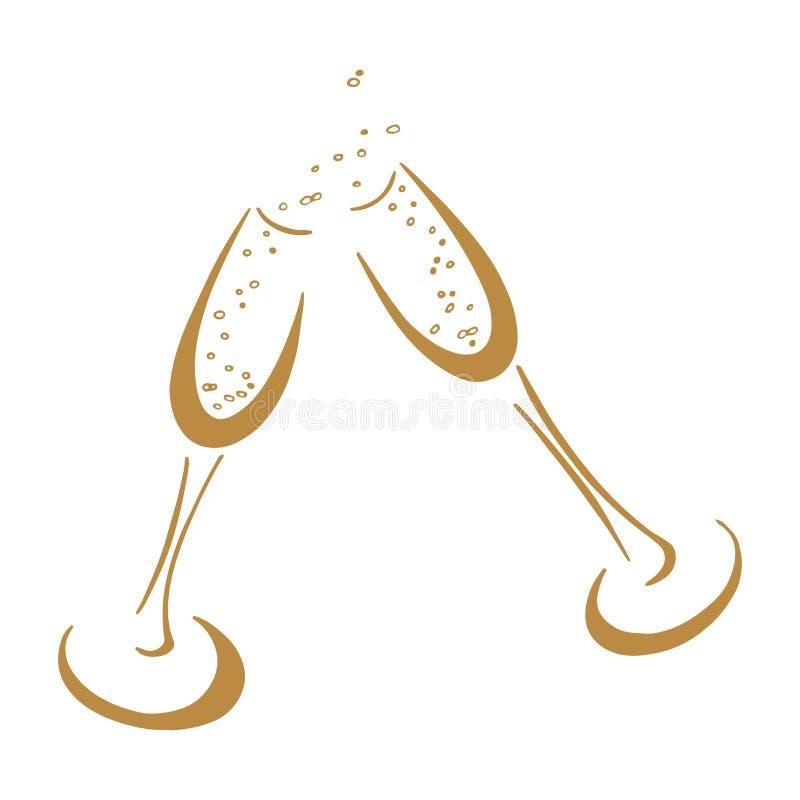 szampan obramiający szkła obramiać strzelali ilustracji