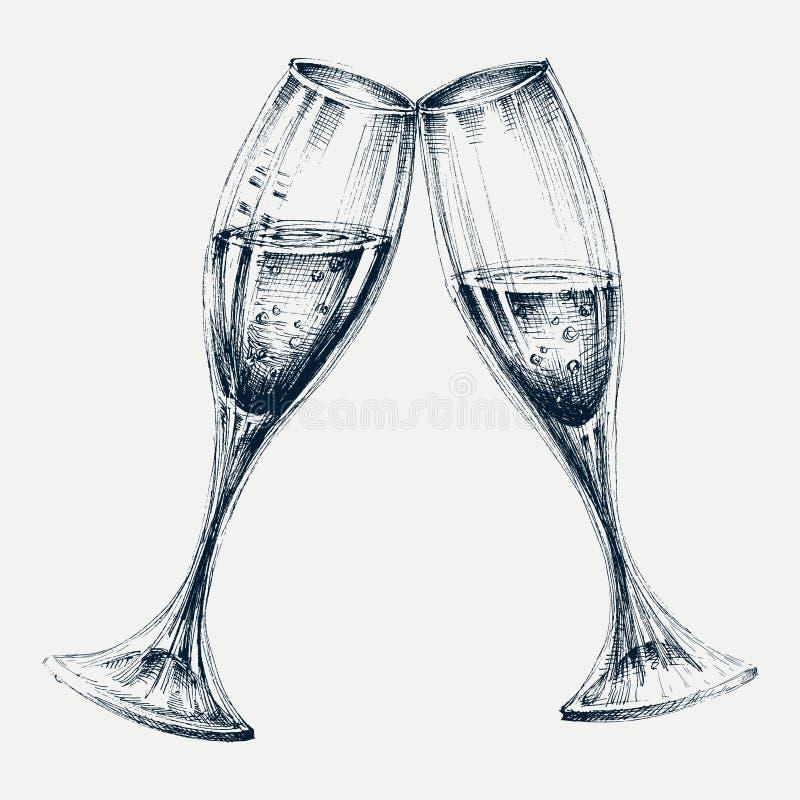 szampan obramiający szkła obramiać strzelali ilustracja wektor