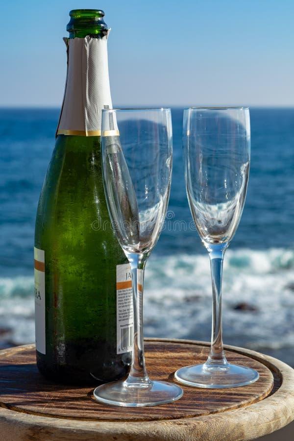 Szampan, prosecco lub cava butelka z dwa szkłami, słuzyć na outside tarasie z dennym widokiem obraz stock