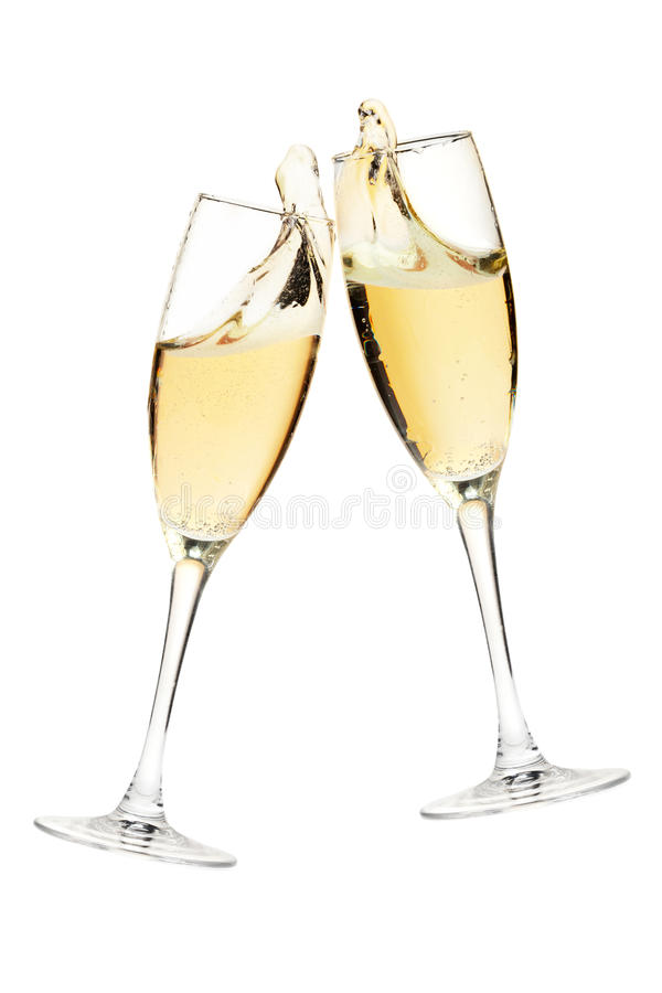szampan rozwesela szkła dwa zdjęcia royalty free