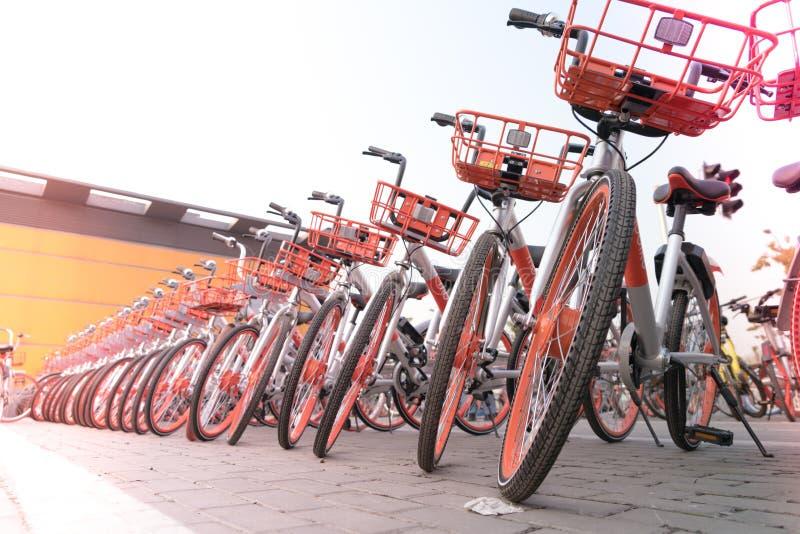 SZANGHAJ CHINY, KWIECIEŃ, - 2017: Parking bicykl dla zwiedzającego podróżnika obraz stock