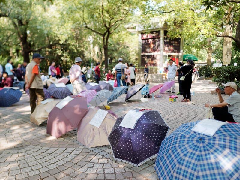 Szanghaj Chiny, Oct, - 2, 2018: randka w ciemno kąt w Szanghaj kwadrata parka w każdy weekendzie ludziach obraz stock
