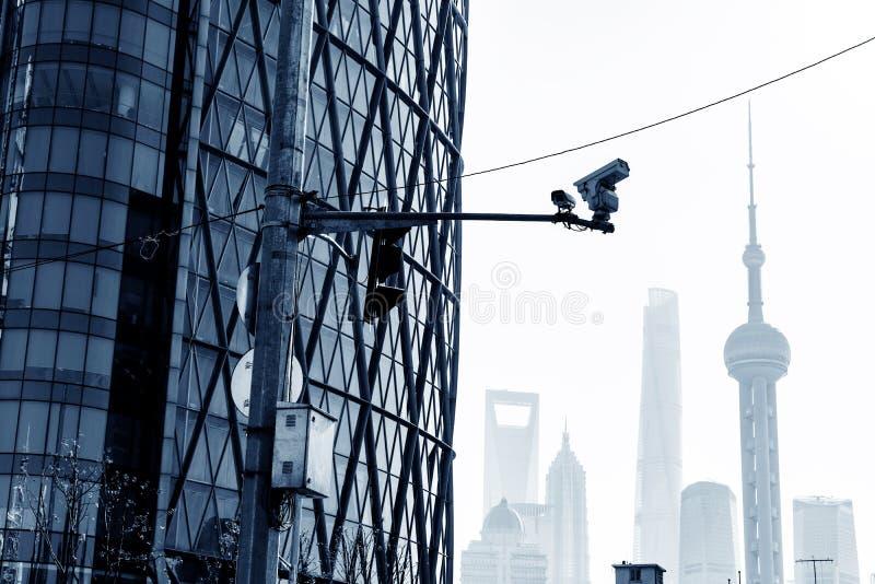 Szanghaj inwigilaci uliczne kamery fotografia stock