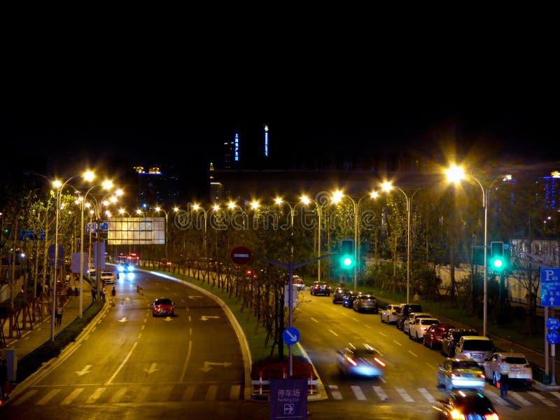 Szanghaj miasta nocy streetscape obraz royalty free