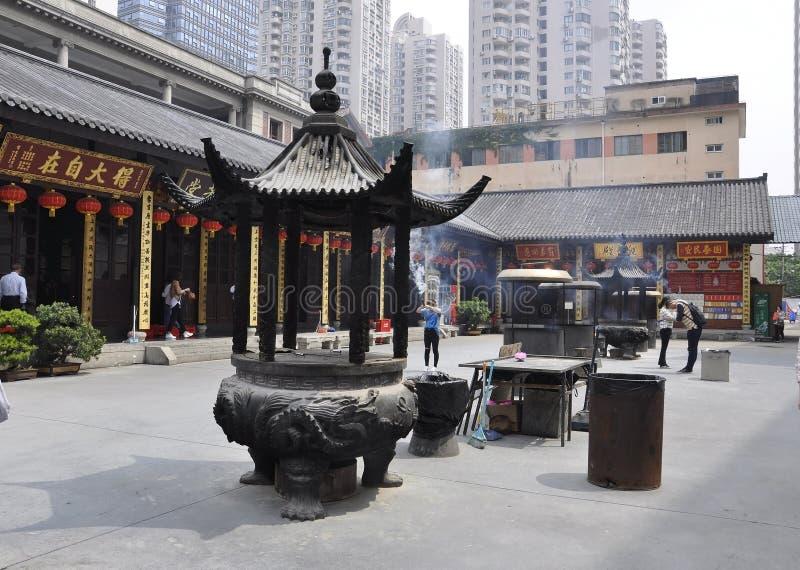 Szanghaj, 2nd może: Modlitewny miejsce od podwórza chabeta Buddha świątynia w Szanghaj fotografia stock