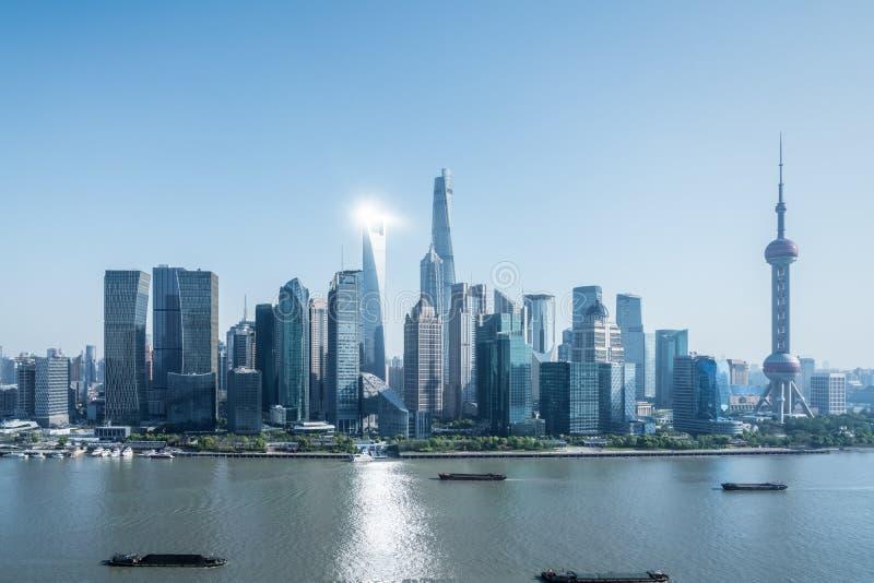 Szanghaj pejzaż miejski Pudong linia horyzontu zdjęcia royalty free