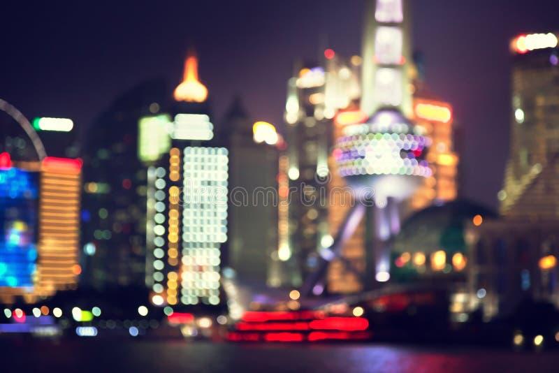 Szanghaj przy nocą, Chiny fotografia royalty free