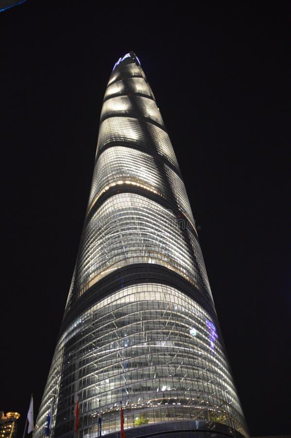 Szanghaj wierza przy nocą zdjęcie royalty free