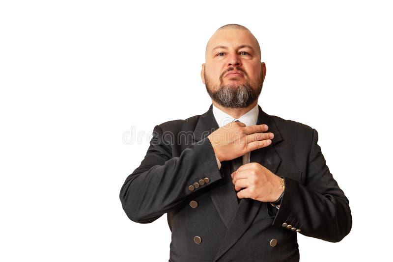 Szanowany mężczyzna demonstruje swój lepszość przystosowywać ne obrazy stock