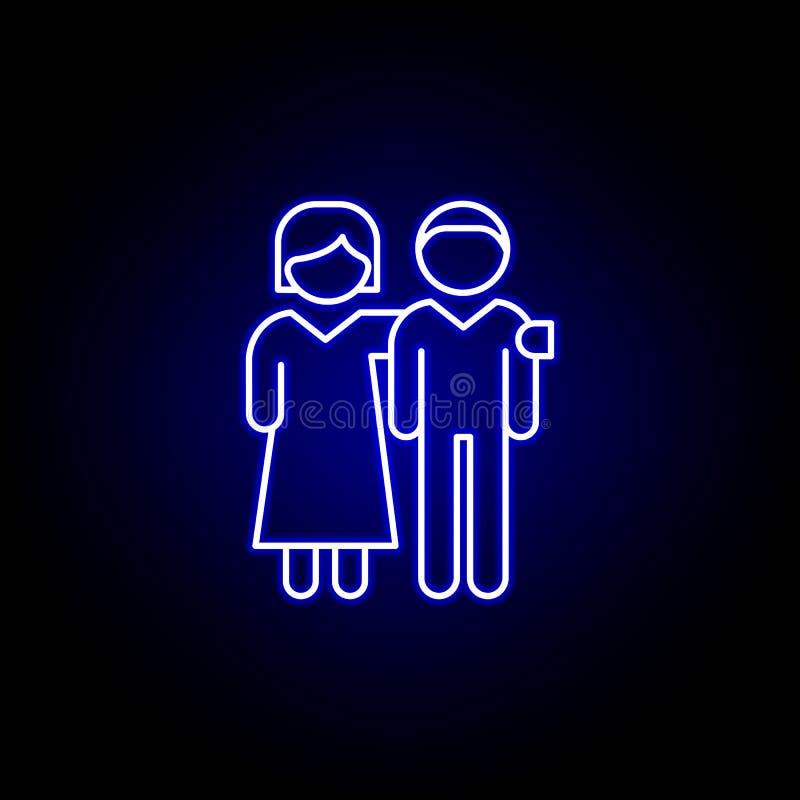 szanuj ręce serce kontur niebieski neon ikona Ikona linii elementów przyjaźni Znaki, symbole i wektory mogą być używane w Interne royalty ilustracja