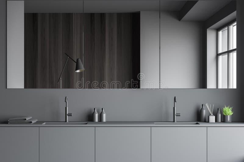 Szara łazienka luksusowa z podwójnym zlewem ilustracja wektor