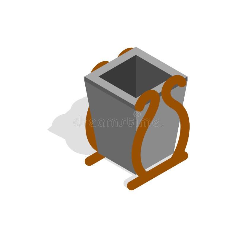 Szara ściółka kosza ikona, isometric 3d styl royalty ilustracja