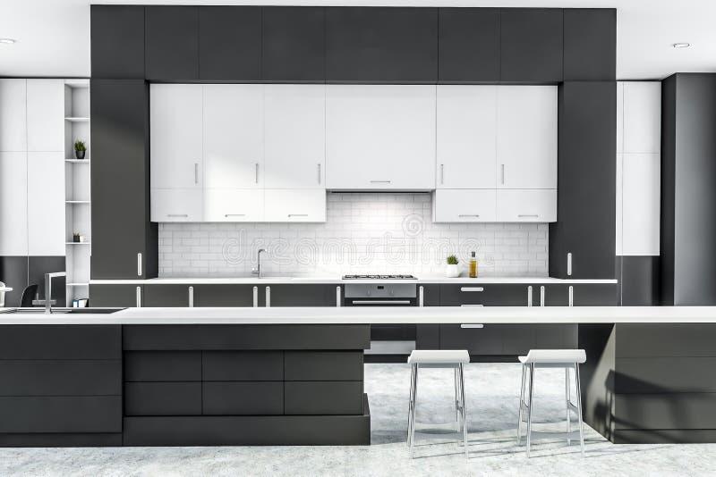 Szara i biała kuchnia z prętem ilustracja wektor