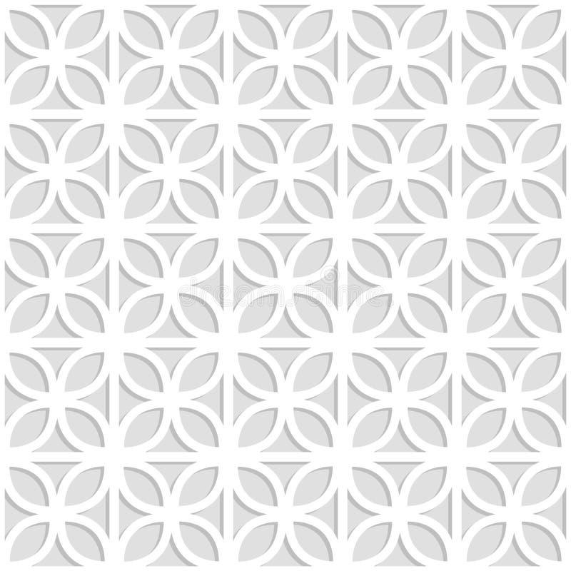 Szara i biała laserowa cięcie papieru koniczyna opuszcza kratownicie geometrycznego bezszwowego wzór, wektor royalty ilustracja