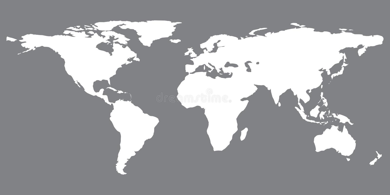 Szara jednakowa światowa mapa Światowej mapy puste miejsce mapa ilustracyjny stary świat Światowej mapy mieszkanie ilustracja wektor