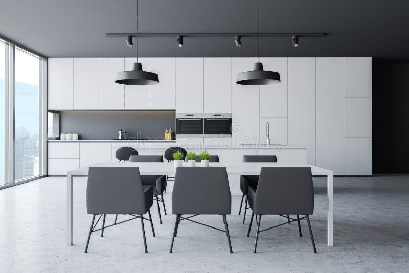 Szara panoramiczna kuchnia z stołem ilustracji